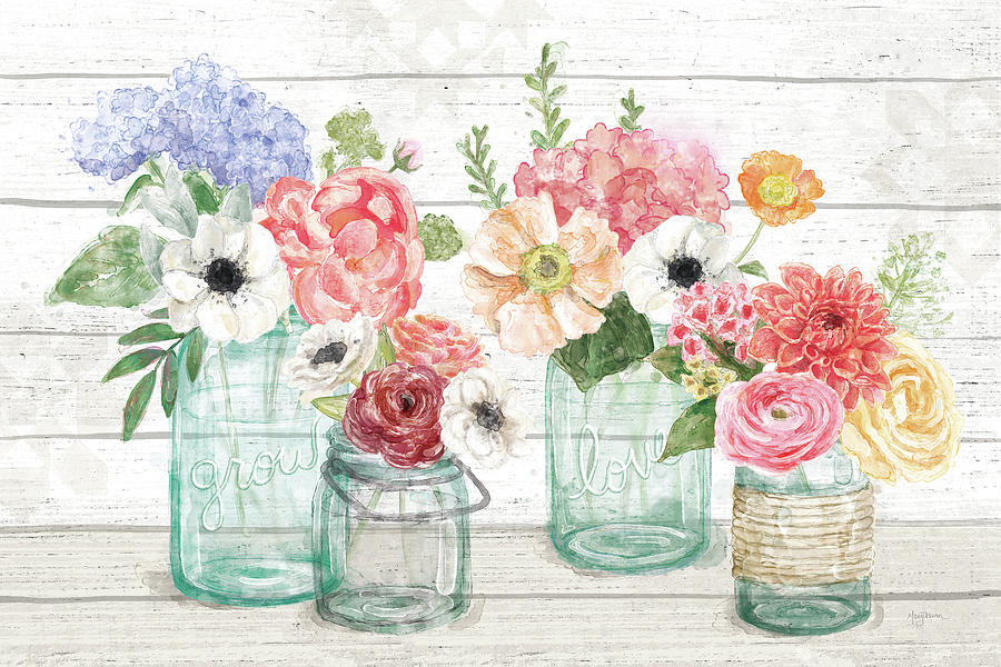 Barn Board Painting - Pastel Flower Market I by Mary Urban