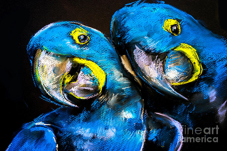 Love Digital Art - Pastel Painting Of A Blue Parrots On A by Ivailo Nikolov