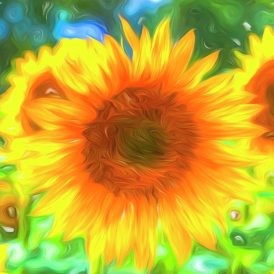 Pastel Sunflower Art by David Pyatt