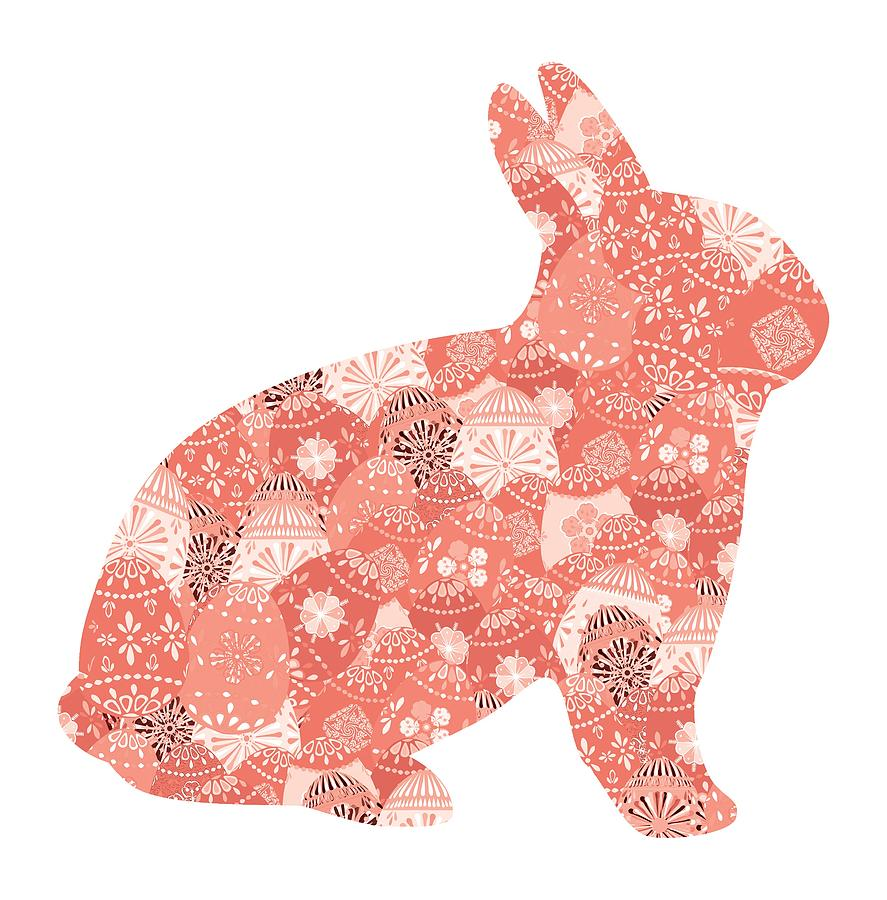 Patchwork Bunny in Trendy Living Coral by Marianne Campolongo