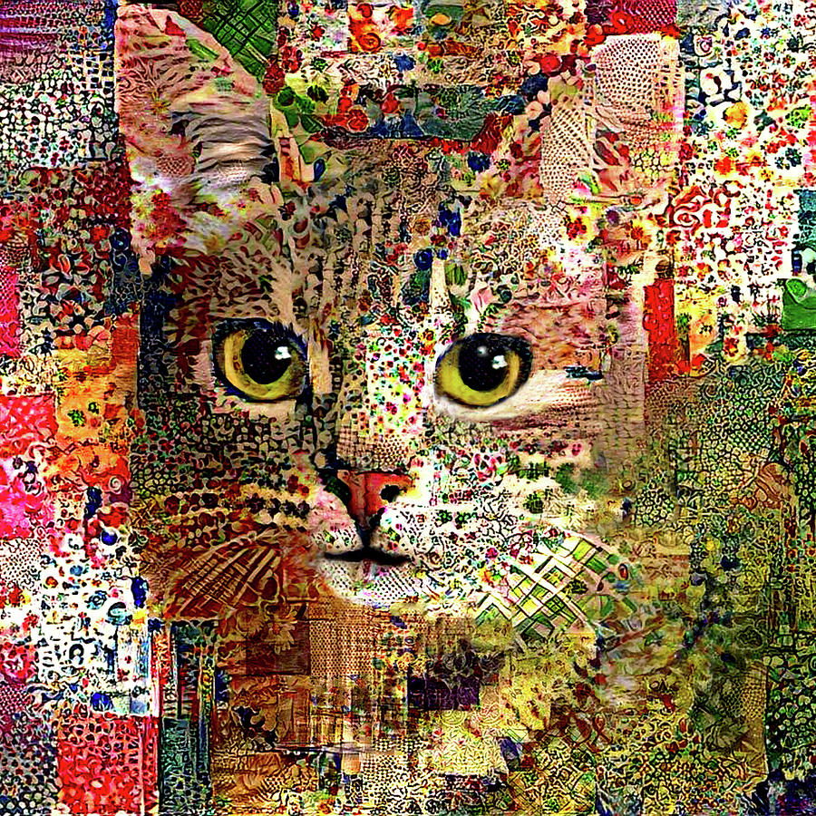 Cat Digital Art - Patchwork Patty Cat - Square Version by Peggy Collins