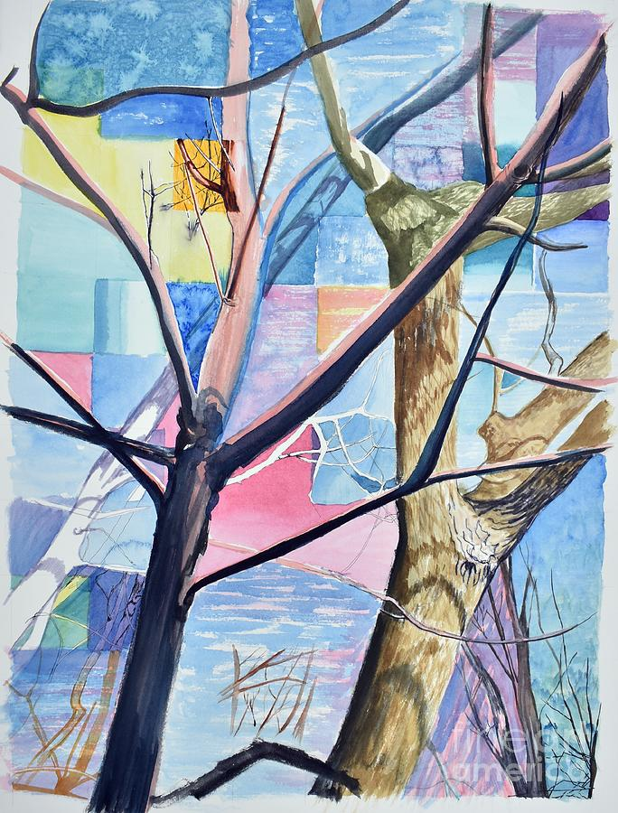 Trees Painting - Patchwork Trees by Tammy Nara