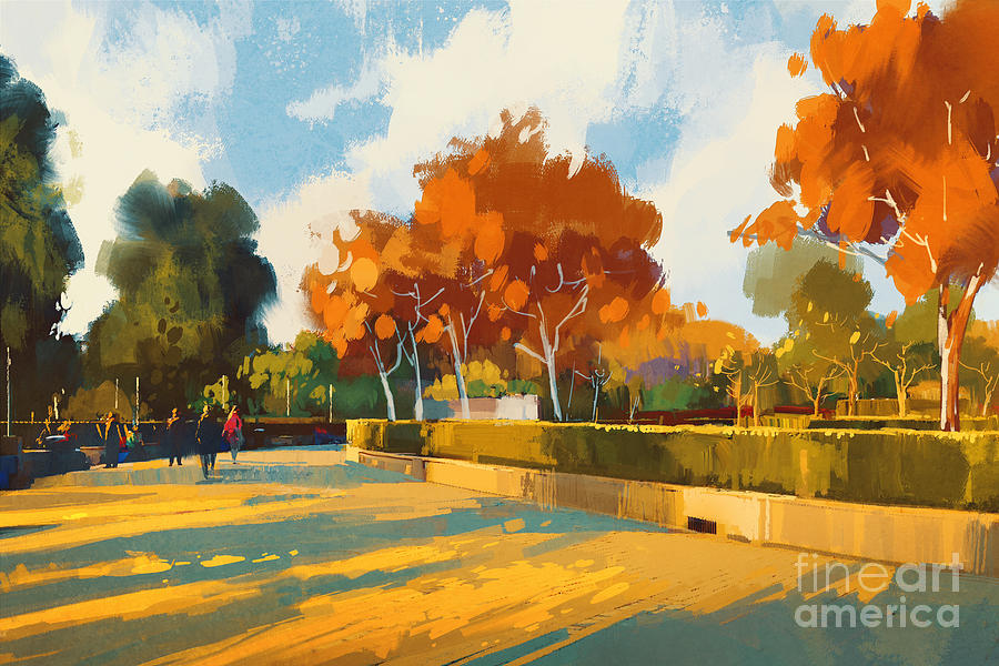 Forest Digital Art - Path In The Autumn Park,landscape by Tithi Luadthong