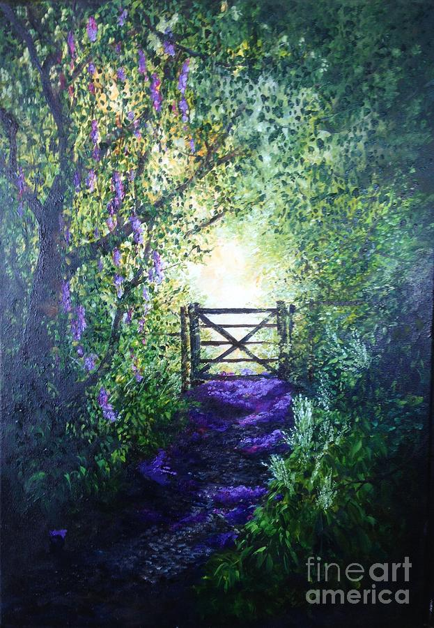 Pathway Home, A Petal Walkway Through The Trees. Painting