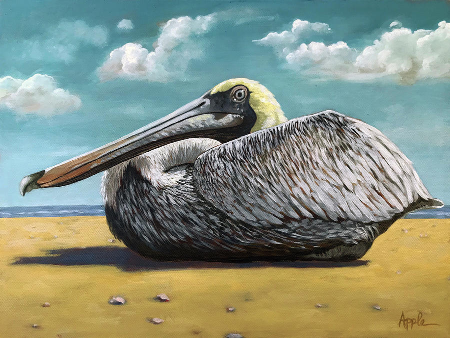 Patient Pelican oil painting by Linda Apple