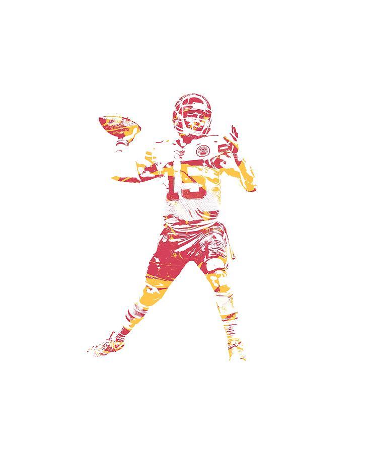 Kansas City Chiefs Mixed Media - Patrick Mahomes Kansas City Chiefs Apparel T Shirt Pixel Art 1 by Joe Hamilton