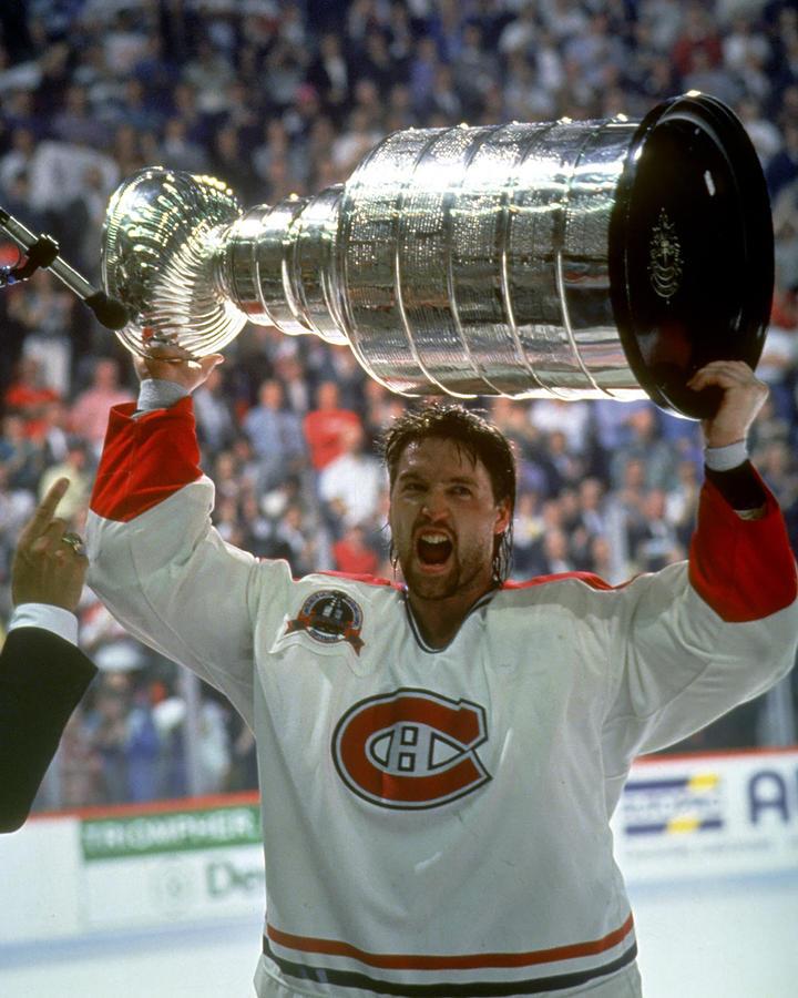 Patrick Roy Raises The Cup, 1993 Photograph by B Bennett
