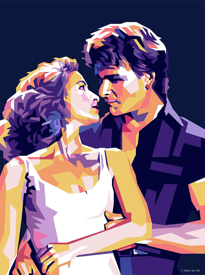 Patrick Digital Art - Patrick Swayze And Jennifer Grey by Stars on Art