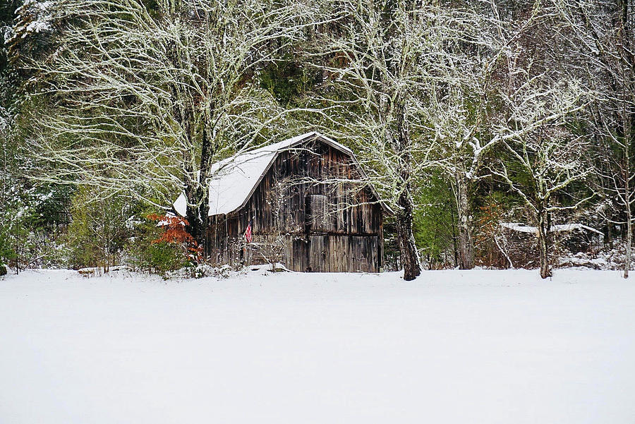 American Flag Photograph - Patriotic Barn In The Snow by Seth Solesbee