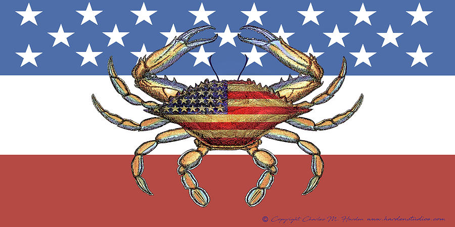 Patriotic Crab on American Flag by Charles Harden