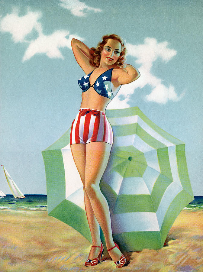 Patriotic Pinup Girl At Beach Digital Art by Graphicaartis