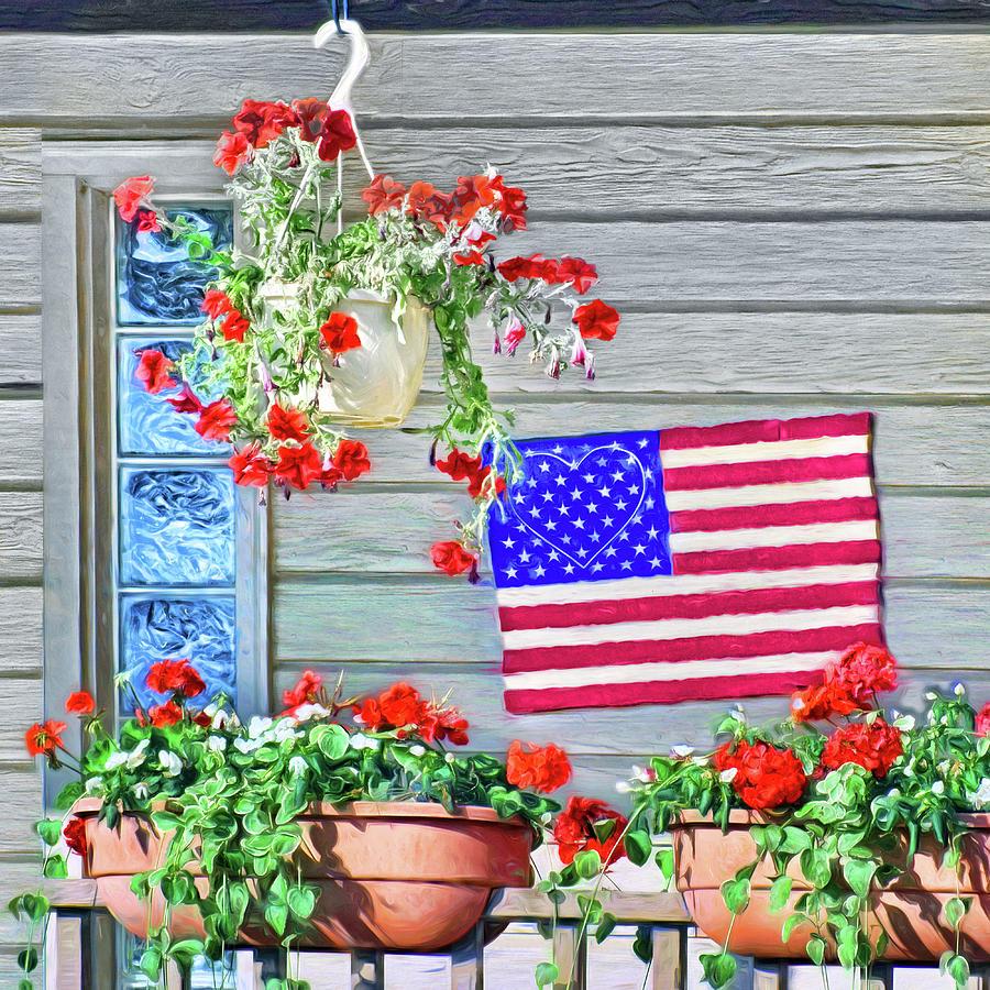 Patriotic Photograph - Patriotic Porch by Nikolyn McDonald