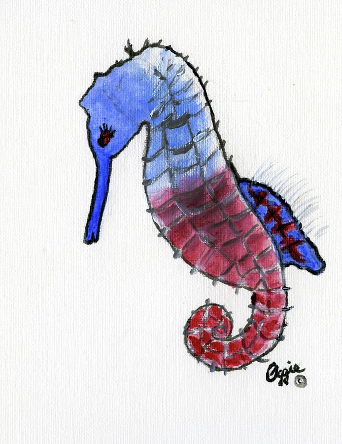 Patriotic Seahorse by Stephanie Agliano