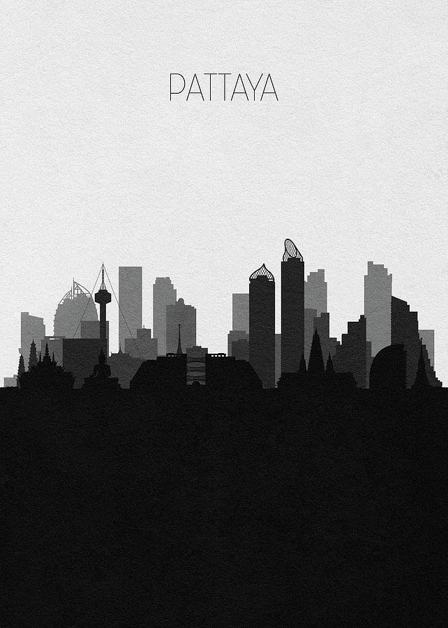 Pattaya Digital Art - Pattaya Cityscape Art by Inspirowl Design