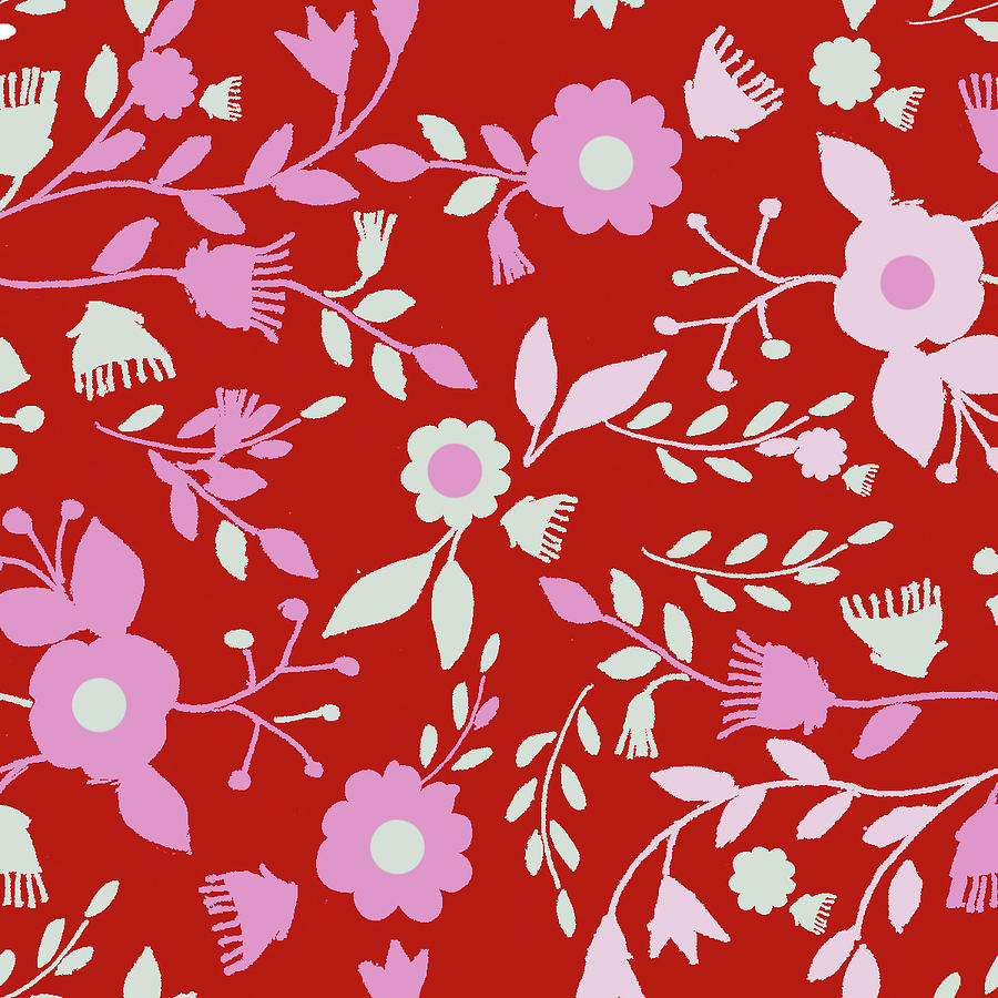 Flowers Mixed Media - Pattern Branches On Red Background by Effie Zafiropoulou