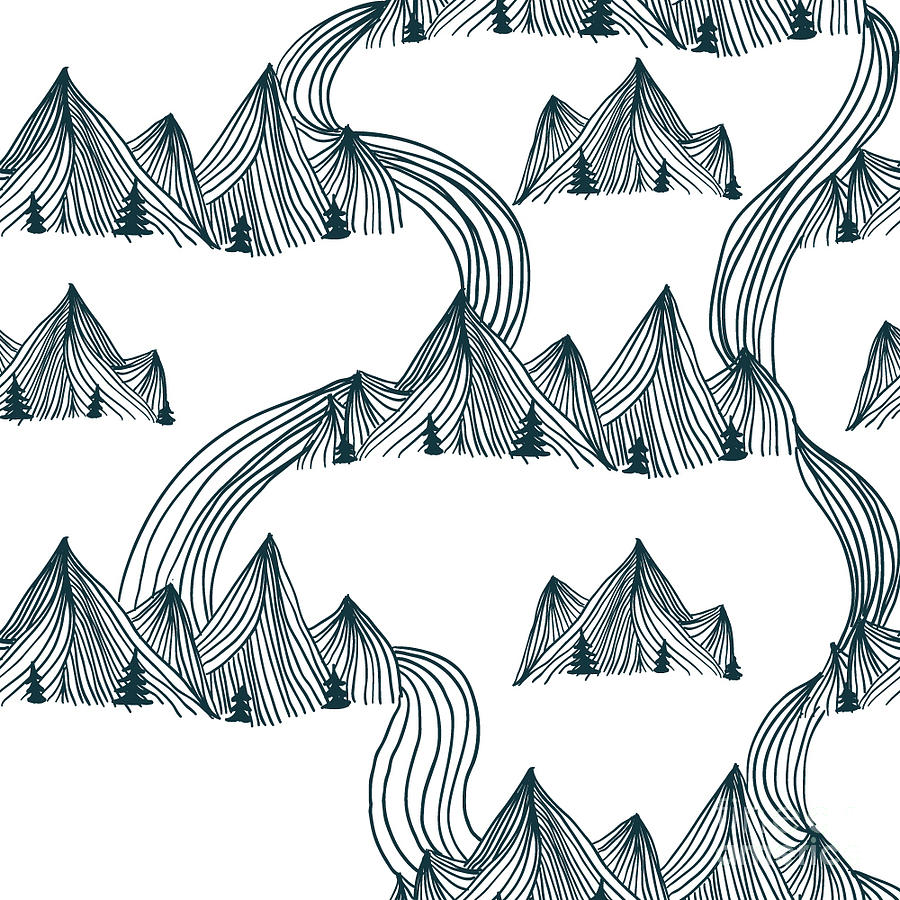 Japan Digital Art - Pattern Graphic Mountain Landscape by Illustration One Love