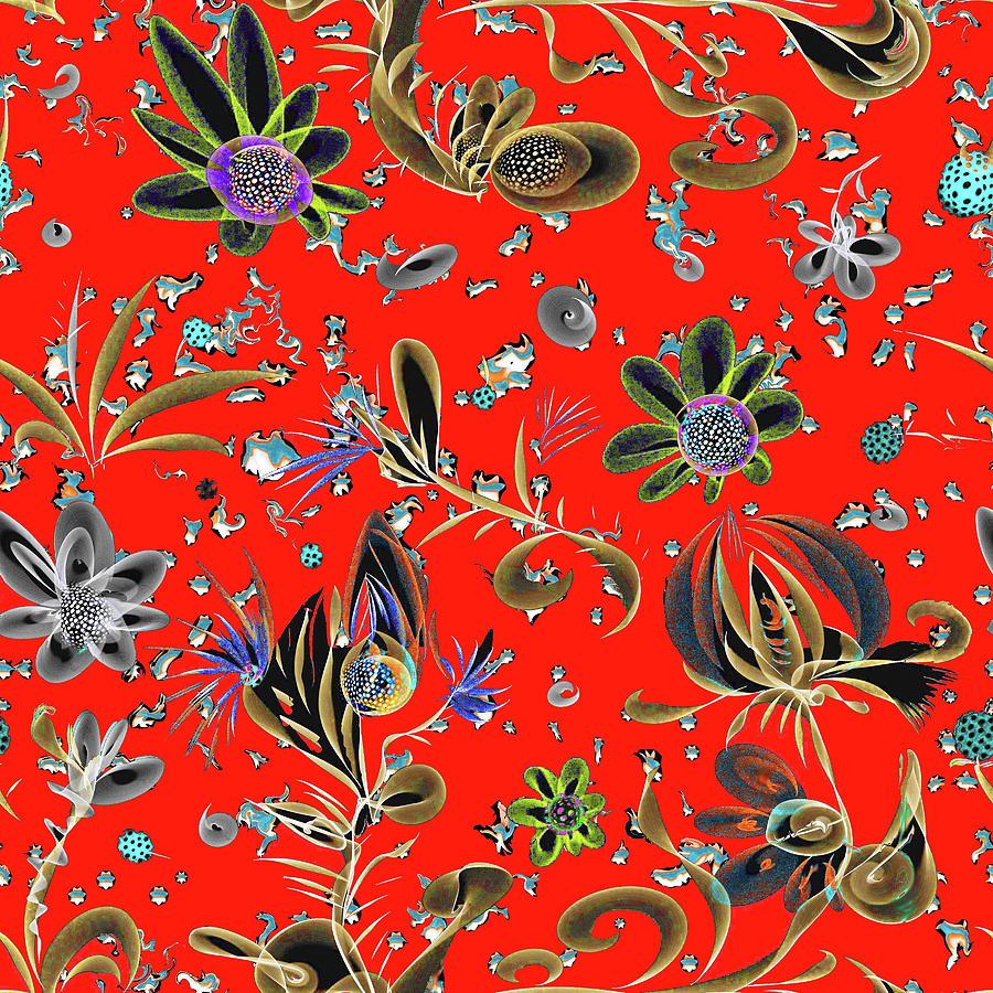 Red Digital Art - Pattern Seamlees Tangerin Dream Floral by Natalia Rudzina