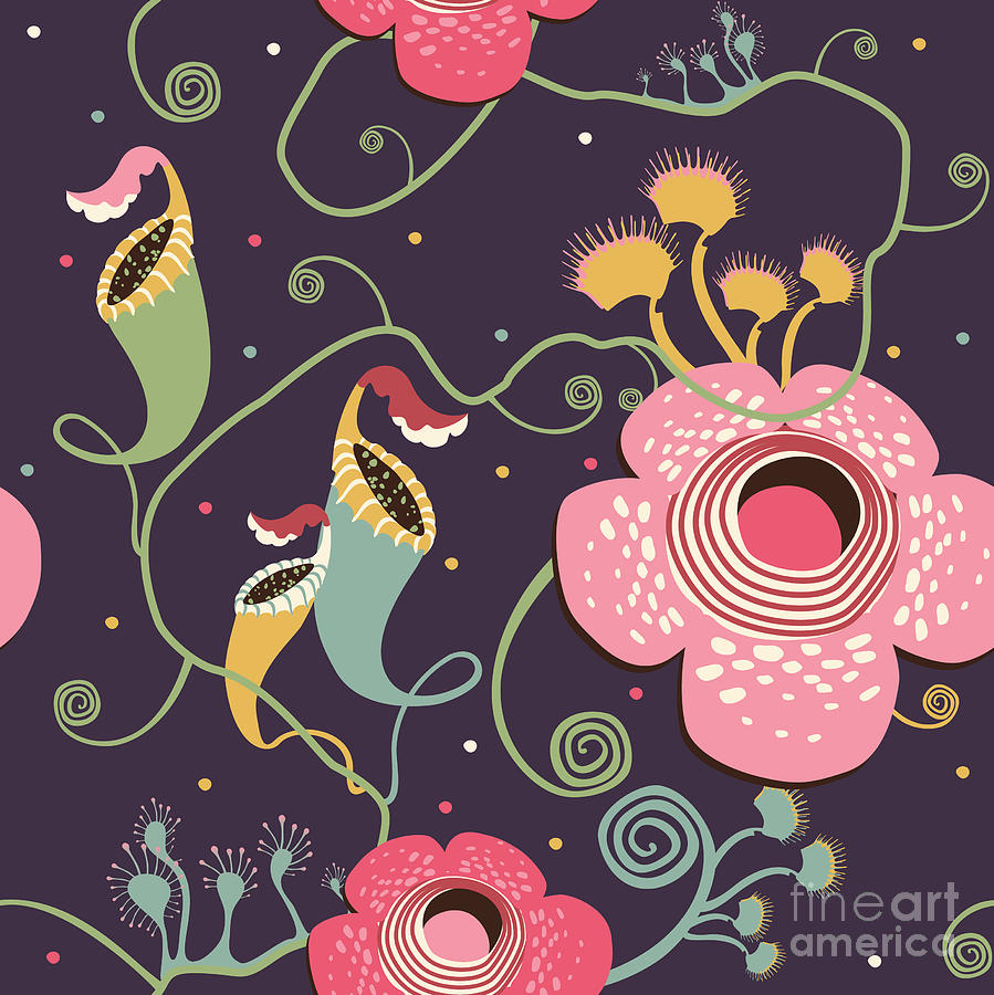 Insectivores Digital Art - Pattern With Carnivorous Plants by Glebova Galina