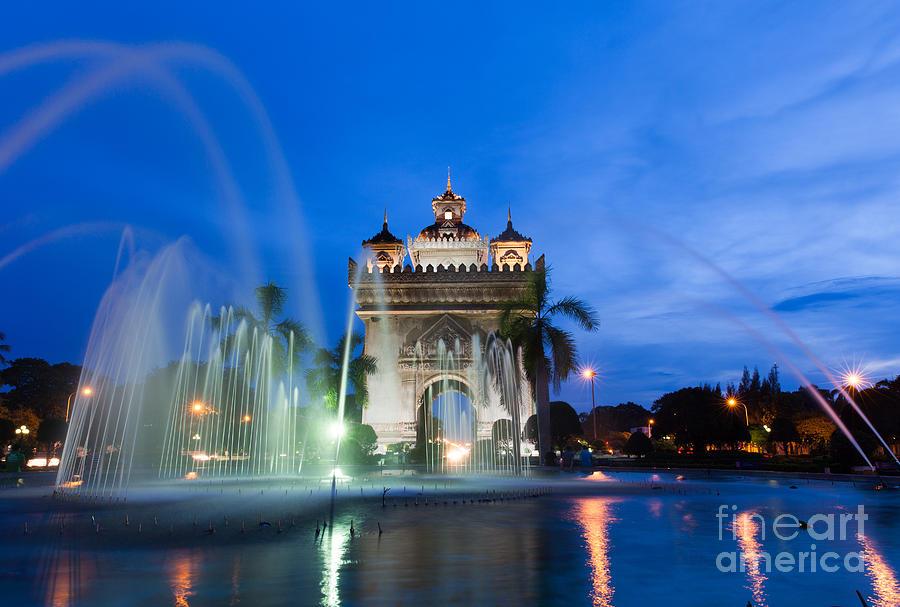 Concrete Photograph - Patuxai Monument Gate Of Triumph by Elena Ermakova
