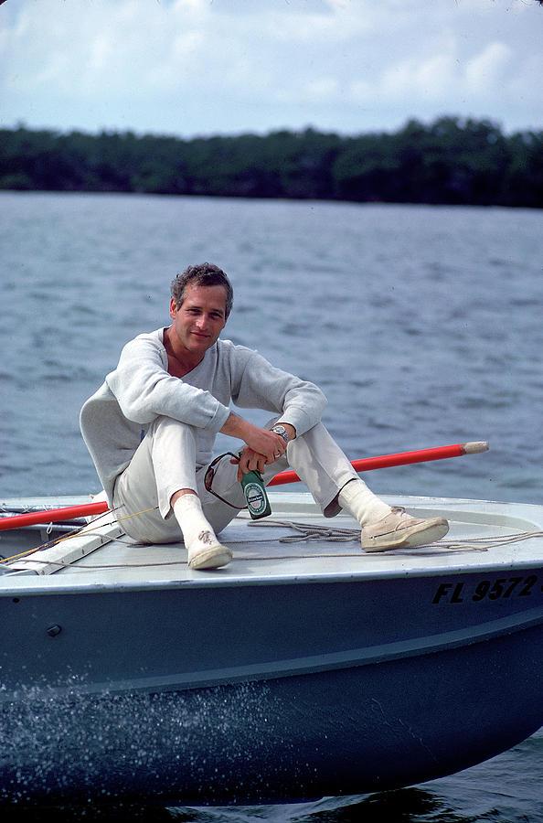 Paul Newman On Boat Photograph by Mark Kauffman