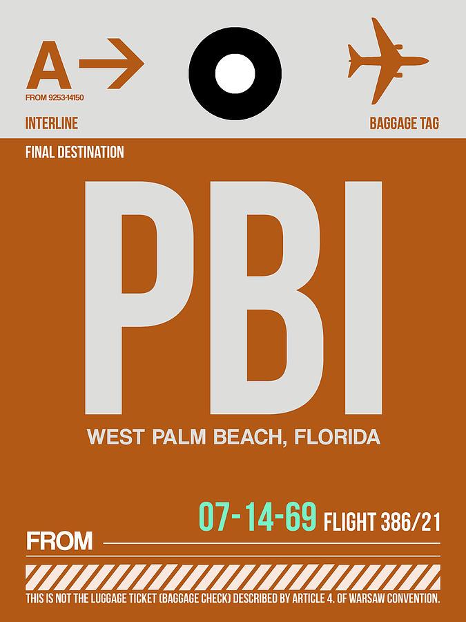 Vacation Digital Art - Pbi West Palm Beach Luggage Tag II by Naxart Studio