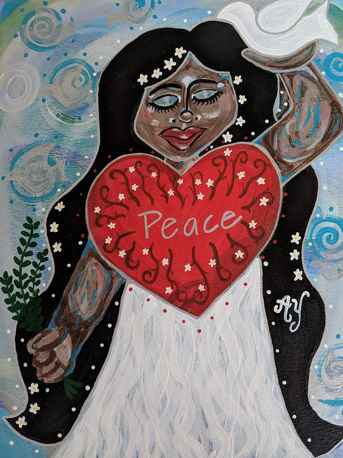 Peace Painting - Peace Goddess by Angela Yarber