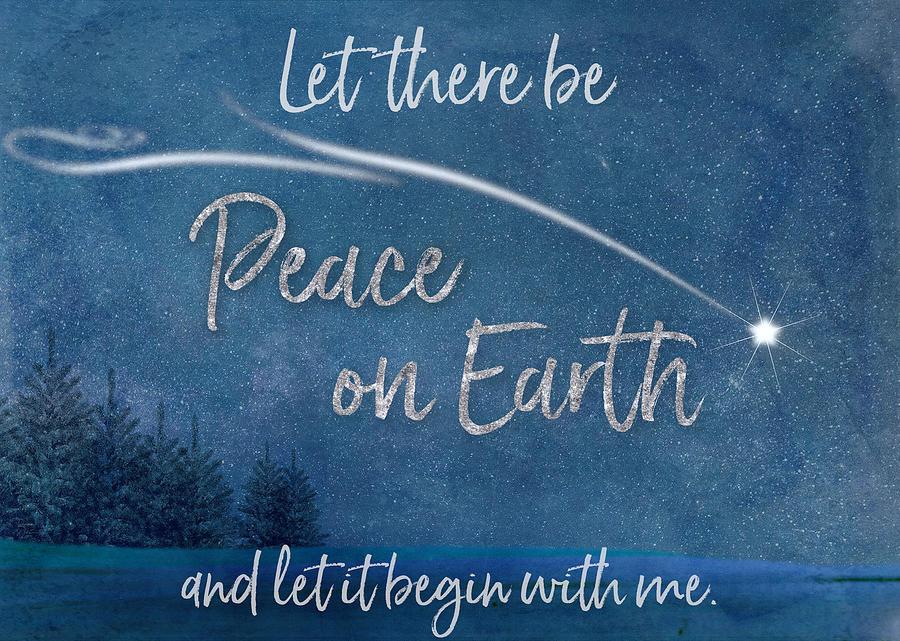 Peace On Earth Christmas Card by Teresa Wilson