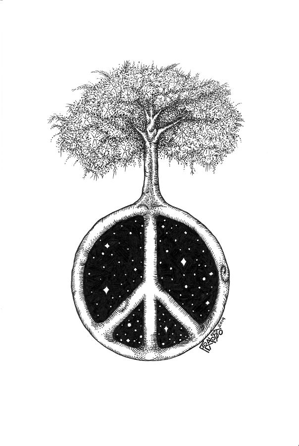 Pen And Ink Illustration Drawing - Peace Tree Drawing by Rick Frausto