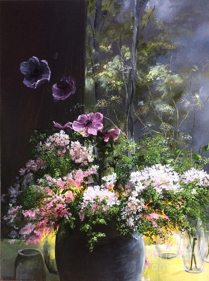 Flowers And Mural - Peaceful Abundance Painting