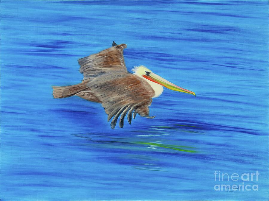 Pelican Painting - Peaceful by Artbysarge