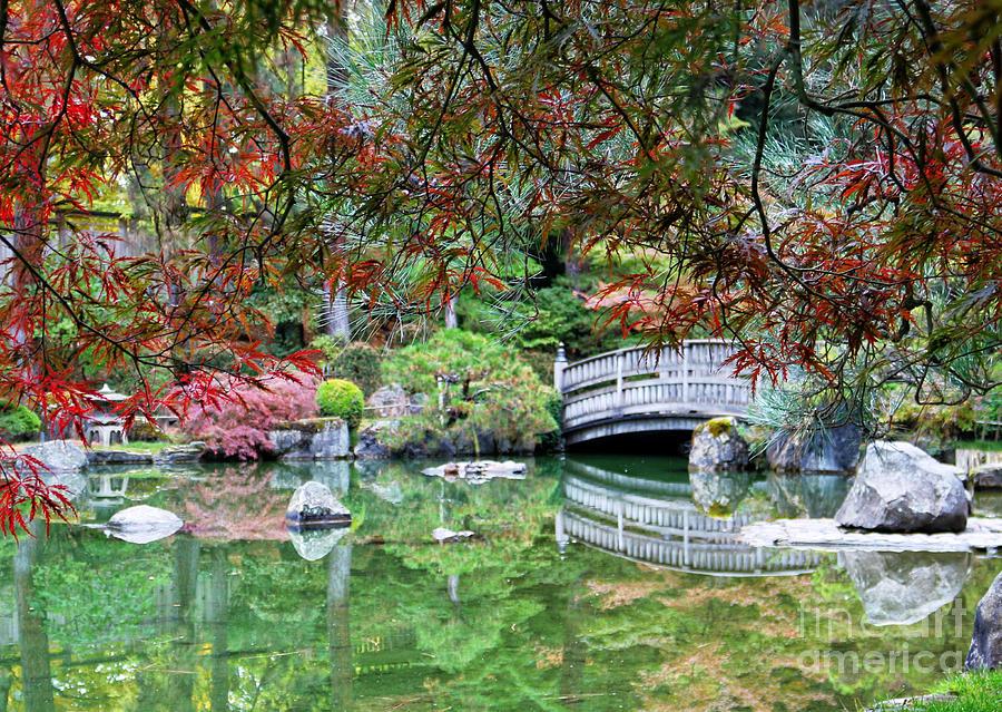 Peaceful Autumn Bridge Reflection by Carol Groenen