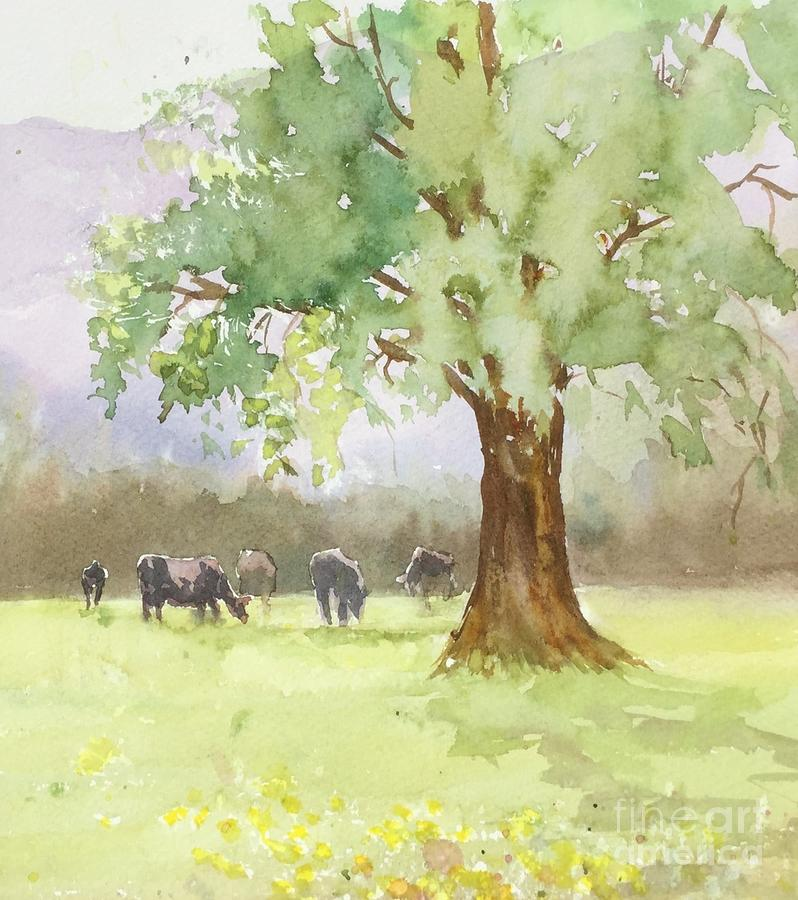 Pasture Painting - Peaceful Day by Yohana Knobloch