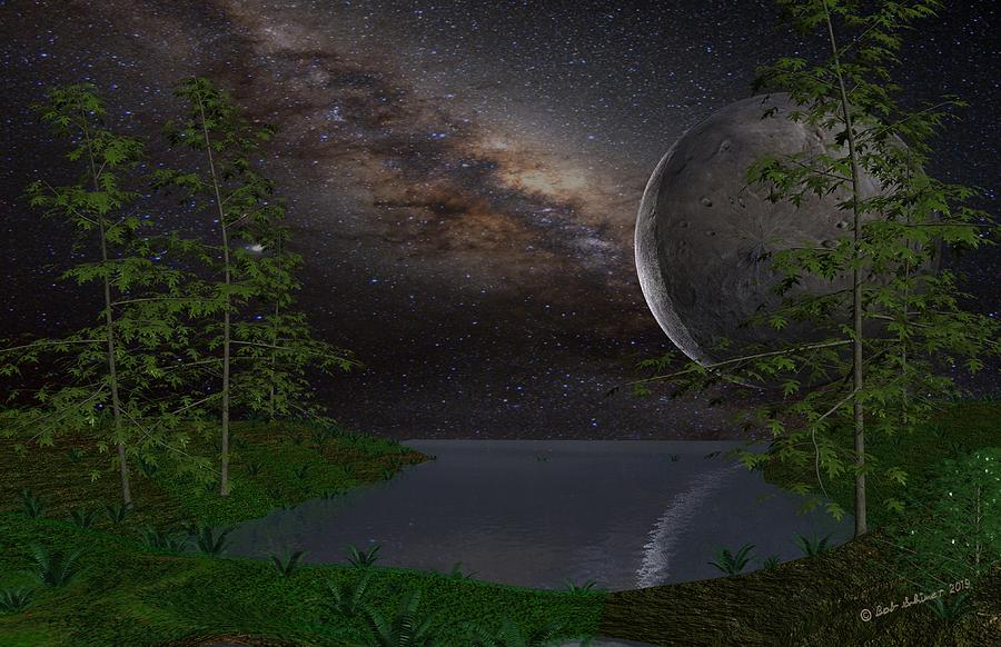 Scifi Digital Art - Peaceful Night On A Distant Planet by Bob Shimer