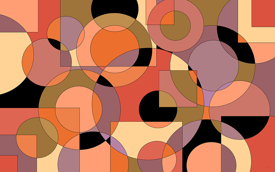 Peach Circle Abstract by Val Arie