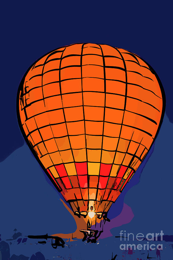 Hot Air Balloons Digital Art - Peach Hot Air Balloon Night Glow In Abstract by Kirt Tisdale