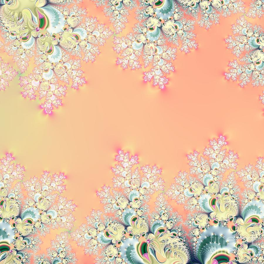 Peach Spring Frost on Flowers Fractal Abstract by Rose Santuci-Sofranko