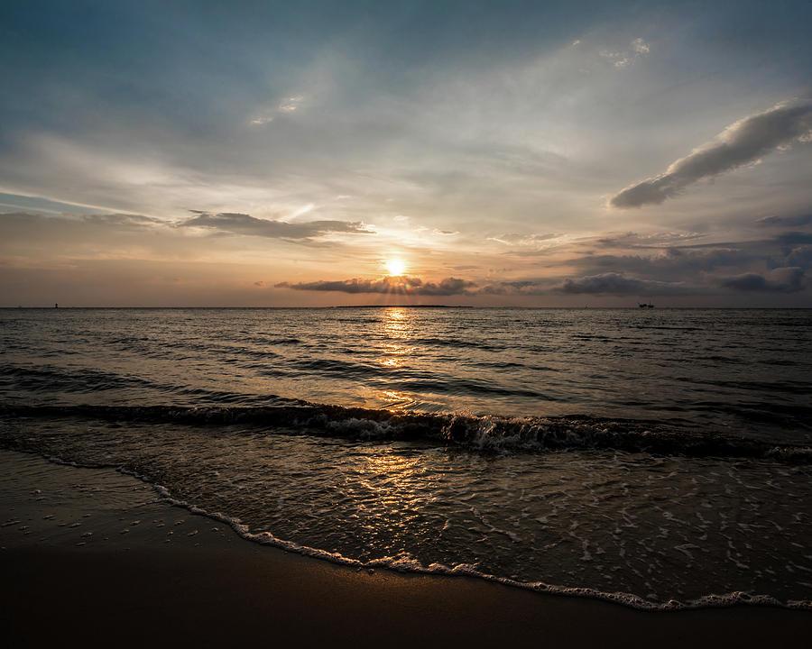 Peach Sunset at the Beach by James-Allen
