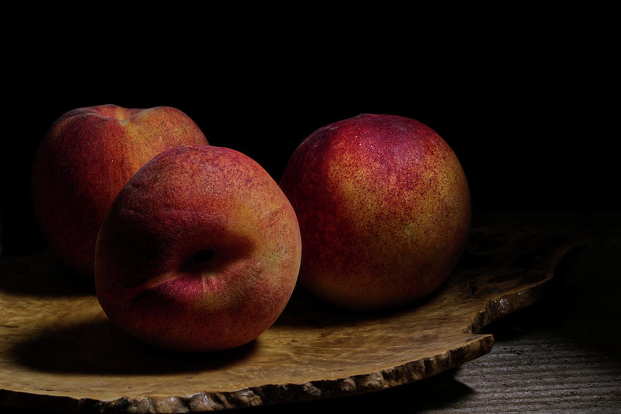 Peaches on Wood Plate by Richard Rizzo