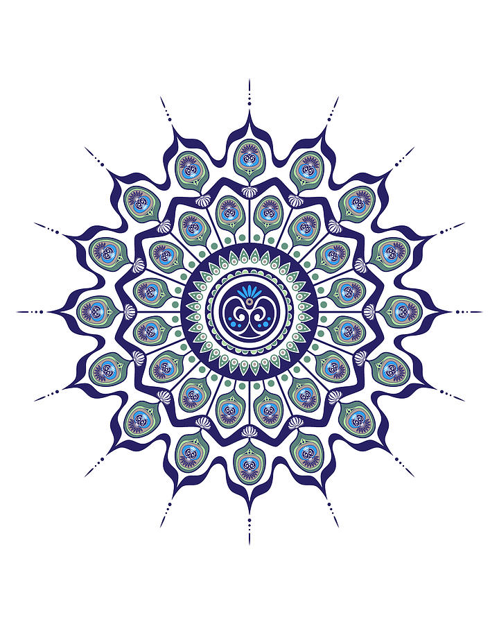 Peacock Feathers Mandala by Debi Dalio