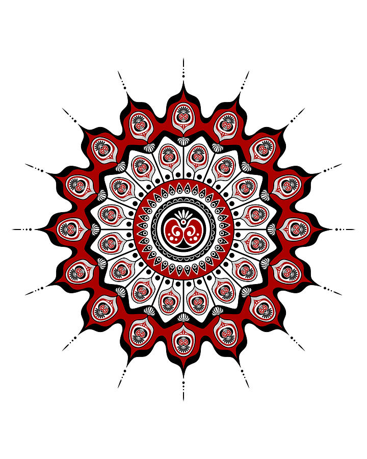 Peacock Feathers Mandala in Black and Red by Debi Dalio