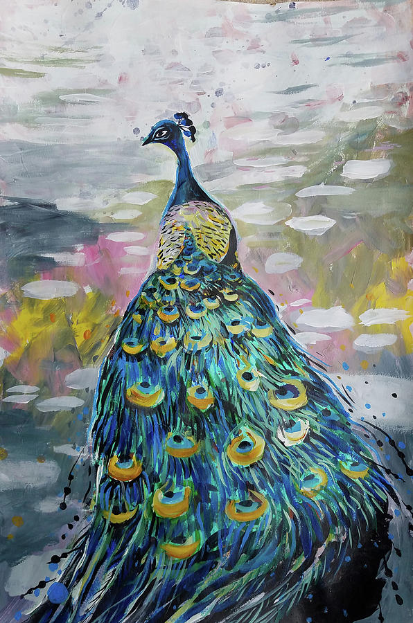 Peacock in dappled light by Tilly Strauss