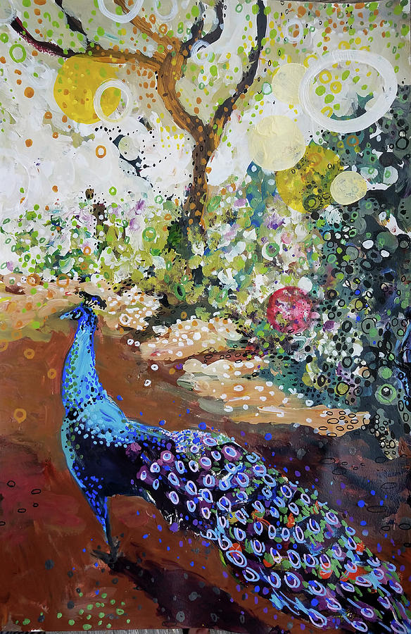 Peacock on path by Tilly Strauss