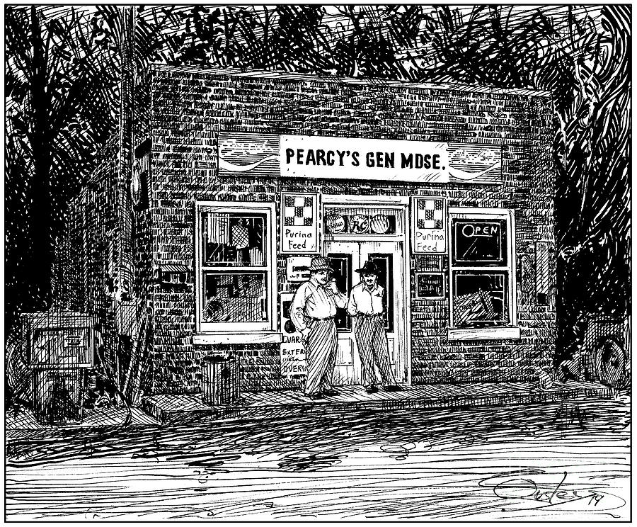 Pen And Ink Drawing - Pearcys General Store by Chris Ousley