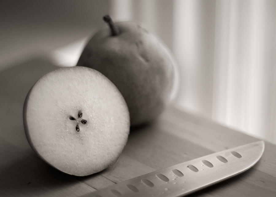 Pears And Knife On Cutting Board Photograph by Daniel J. Grenier