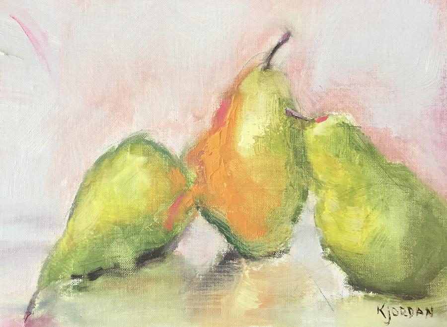 Pears X 3 Painting by Karen Jordan