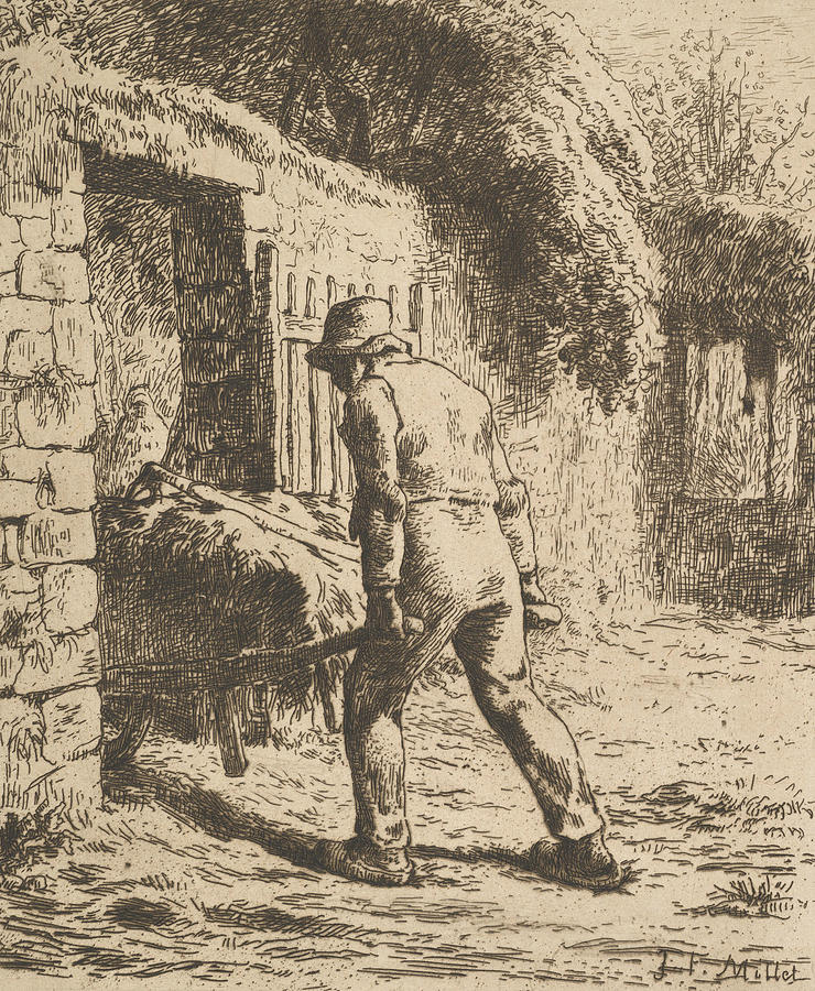 Peasant Pushing A Wheelbarrow by Jean-Francois Millet