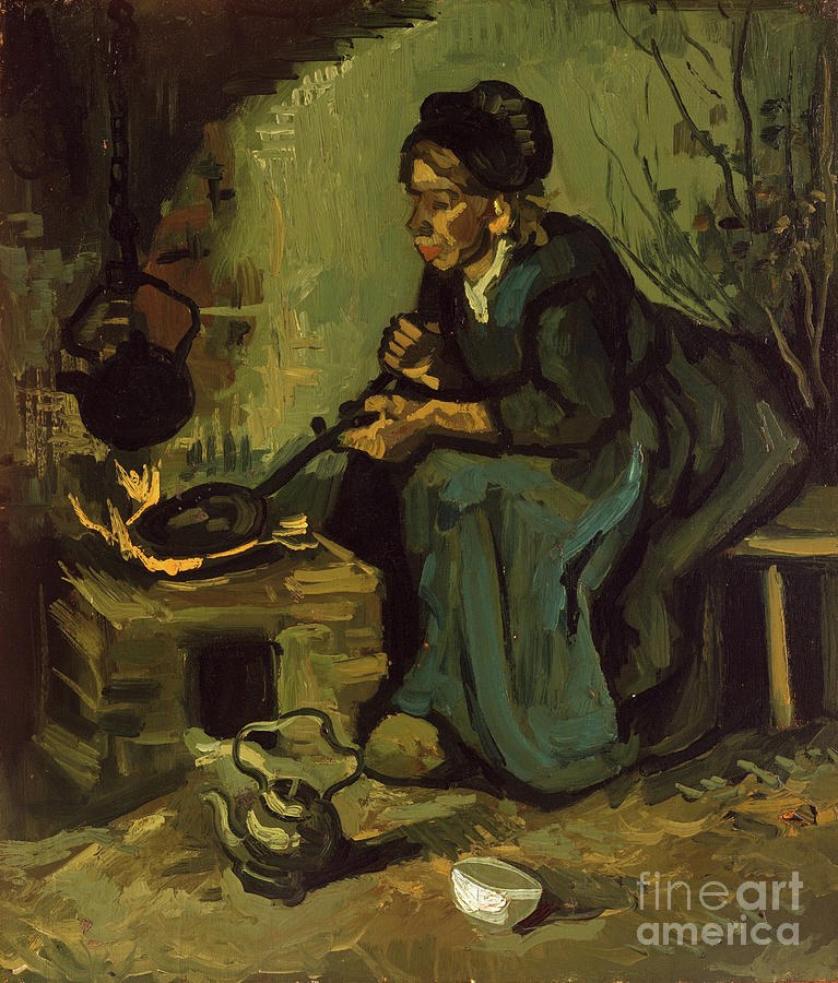 Peasant Woman Cooking By A Fireplace Drawing by Heritage Images