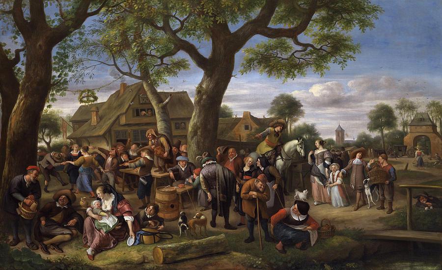 Jan Steen Painting -  Peasants Merrymaking Outside An Inn, Fair At Warmond by Jan Steen