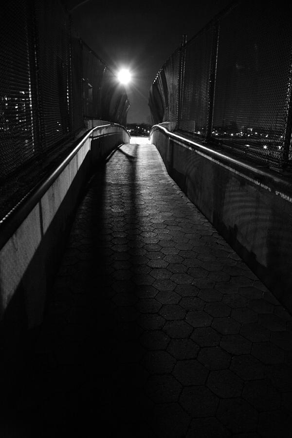 Pedestrian Overpass At Night Photograph by Adam Garelick