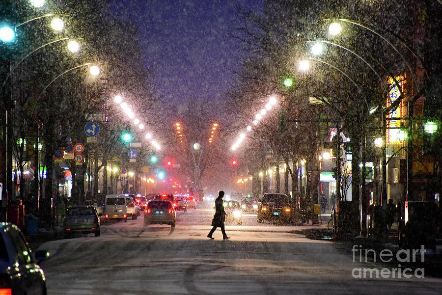 Pedestrian Silhouette In Sapporo Photograph by Sergio Amiti
